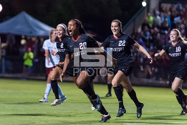 STANFORD, CA - August 17, 2012: Mariah Nogueira celebrates her goal with teammates during Stanford women's soccer vs Santa Clara in Stanford, California. Stanford won 6-1.