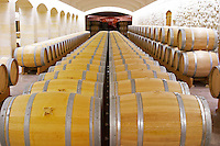 Oak barrel aging and fermentation cellar. Chateau Haut Marbuzet, Saint Estephe, medoc, Bordeaux, France