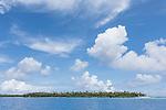 Apataki Atoll, Tuamotu Archipelago, French Polynesia; view of  the palm tree covered islands bordering  Apataki Atoll