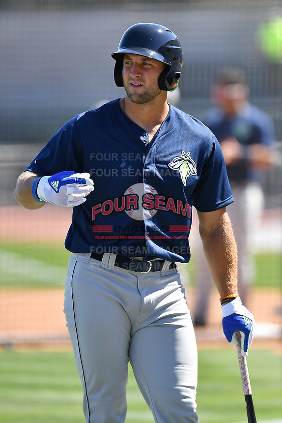 Outfielder Tim Tebow (15) of the Columbia Fireflies works out during the team's first practice of the season on Sunday, April 2, 2017 at Spirit Communications Park in Columbia, South Carolina. (Tom Priddy/Four Seam Images)