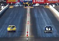 Feb 24, 2017; Chandler, AZ, USA; NHRA top sportsman driver Richard Okerman (left) races alongside Ed Olpin during qualifying for the Arizona Nationals at Wild Horse Pass Motorsports Park. Mandatory Credit: Mark J. Rebilas-USA TODAY Sports