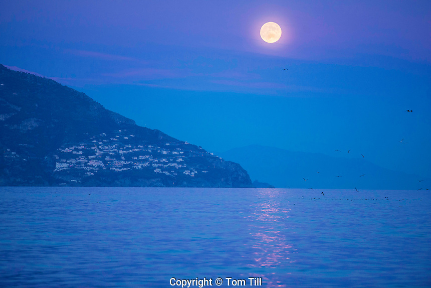 Moonrise over Amalfi Coast. Italy, Gulf of Salerno adn Tyrrhenian Sea