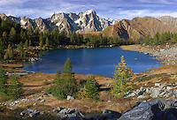 The Arpy Lake is a glacial lake placed at the center of a beautiful plateau at more than 2000 meters of altitude in Valdigne, one of the many side valleys of the Valle d'Aosta in Italy. The view from this place is dominated by the breathtaking majesty of the Monte Bianco range, the tallest peak of the Alps with its 4808 meters of altitude. Taken on a late afternoon at the beginning of October about one hour before sunset.