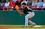 18 March 2009: Florida Marlins' first baseman Gaby Sanchez in action during a Spring Training game against the Washington Nationals at Space Coast Stadium in Viera, Florida. The Marlins defeated the Nationals 7-5 in the Grapefruit League matchup. Mandatory Photo Credit: Ed Wolfstein Photo
