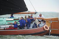 SKUTSJESILEN: SKS2013: SKS kampioenschap 2013, schipper d'Halve Maen, Berend Mink, ©foto Martin de Jong
