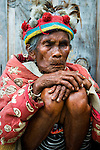 PHILIPPINES (Banaue, Province of Ifugao). 2009. Ifugao elder dressed in the traditional manner at a viewpoint near Banaue.