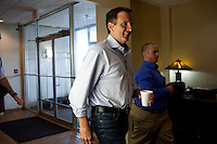 Republican presidential hopeful Tim Pawlenty arrives for a campaign stop on Friday, August 5, 2011 in Mason City, IA.