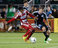 Santa Clara, California - Saturday July 18, 2012: FC Dallas' David Ferreira and San Jose Earthquakes' Sam Cronin fight for the ball during a game at Buck Shaw Stadium, Stanford, Ca   San Jose Earthquakes defeated FC Dallas 2 - 1.