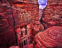 The Treasury Petra National Park, Jordan  Also called Alkhazneh Petra Two thousand year old Nabataean city    Nubian snadstone