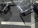 Carts in the Rite Aid parking lot cast shadows on the pavement.