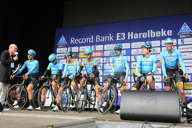 Astana Pro Team presented to the crowd before the start of the 60th edition of the Record Bank E3 Harelbeke 2017, Flanders, Belgium. 24th March 2017.<br /> Picture: Eoin Clarke | Cyclefile<br /> <br /> <br /> All photos usage must carry mandatory copyright credit (&copy; Cyclefile | Eoin Clarke)
