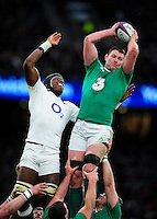 Donnacha Ryan of Ireland wins the ball at a lineout. RBS Six Nations match between England and Ireland on February 27, 2016 at Twickenham Stadium in London, England. Photo by: Patrick Khachfe / Onside Images