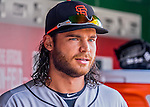 7 August 2016: San Francisco Giants shortstop Brandon Crawford looks out from the dugout prior to a game against the Washington Nationals at Nationals Park in Washington, DC. The Nationals shut out the Giants 1-0 to take the rubber match of their 3-game series. Mandatory Credit: Ed Wolfstein Photo *** RAW (NEF) Image File Available ***