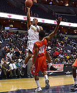 March 11, 2013  (Washington, DC)  Dawone Wright #5, of the Ballou Knights, takes a shot during the inaugural D.C. State Athletics Championship at the Verizon Center March 11, 2013. Coolidge won 69-47.  (Photo by Don Baxter/Media Images International)