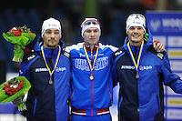 SCHAATSEN: HEERENVEEN: 13-12-2014, IJsstadion Thialf, ISU World Cup Speedskating, Podium 1000 m Men Division A, Kjeld Nuis (NED), Pavel Kulizhnikov (RUS), Hein Otterspeer (NED), ©foto Martin de Jong