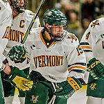 24 October 2015: University of Vermont Catamount Forward Jarrid Privitera, a Sophomore from Old Tappan, NJ, smiles after scoring UVM's second goal in the second period against the University of North Dakota at Gutterson Fieldhouse in Burlington, Vermont. North Dakota defeated the Catamounts 5-2 in the second game of their weekend series. Mandatory Credit: Ed Wolfstein Photo *** RAW (NEF) Image File Available ***