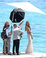 Petra Nemcova during a photoshoot at the Martinez Beach during the 66th Cannes Film Festival