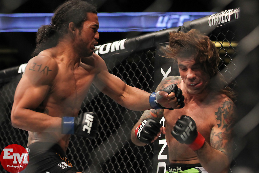 November 12, 2011; Anaheim, CA; USA; Clay Guida (white trunks) and Ben Henderson (black trunks) during their fight at UFC on FOX in Anaheim, CA.