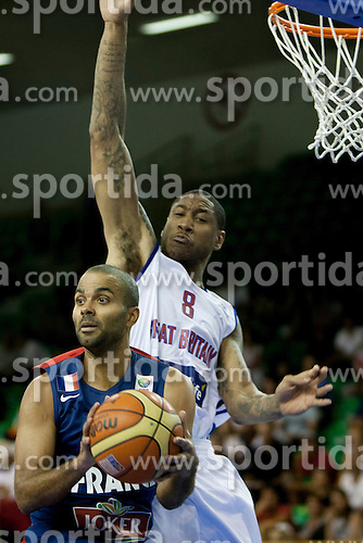Tony Parker #9 of France during basketball match between National teams of France and Great Britain at Day 2 of Eurobasket 2013 on September 5, 2013 in Tivoli Hall, Ljubljana, Slovenia. (Photo By Urban Urbanc / Sportida )