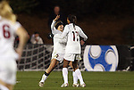 03 December 2010: Stanford's Camille Levin (2) celebrates her goal with Lindsay Taylor (17). The Stanford University Cardinal defeated the Boston College Eagles 2-0 at WakeMed Stadium in Cary, North Carolina in an NCAA Women's College Cup semifinal game.