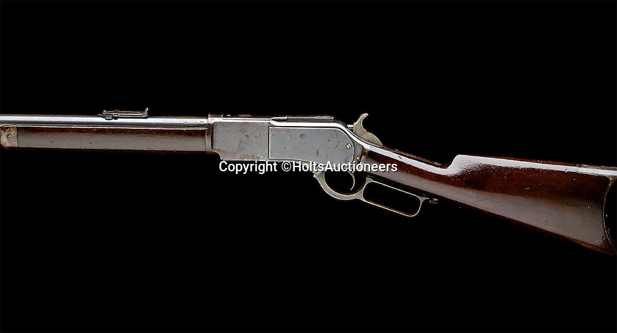 BNPS.co.uk (01202 558833)<br /> Pic: HoltsAuctioneers/BNPS<br /> <br /> A rifle once used by famed explorer Sir Henry Morton Stanley to shoot an African tribal leader in order to save his expedition party from slaughter has come to light.<br /> <br /> Sir Henry picked up his Winchester rifle as his beleaguered team were about to be annihilated by angry natives in 'darkest Africa' during a dangerous rescue of a surrounded governor in Uganda.<br /> <br /> He took aim at a 'vociferous native sporting an elaborate headdress and shield' who was inciting the rest of the tribe and pulled the trigger.<br /> <br /> The immediate consequence of killing the leader scared off the large group of natives who ran into a forest.<br /> <br /> It is being sold by Holt's on December 10.