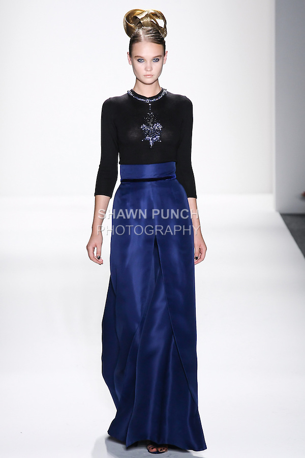 Model walks runway an EBONY SILK +CASHMERE HANDLOOMED SWEATER W/ SAPPHIRE CRYSTAL BEADED IMPERIAL STAR, AND SAPPHIRE COUTURE SILK GAZAR SWEEPING A-LINE EVENING SKIRT by Zang Toi, for the Zang Toi Spring 2012 My Dream Of North Africa Collection, during Mercedes-Benz Fashion Week Spring 2012.