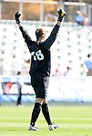 09 November 2008: North Carolina's Ashlyn Harris reacts to a UNC goal. The University of North Carolina Tarheels defeated the Virginia Tech University Hokies 3-0 at WakeMed Stadium at WakeMed Soccer Park in Cary, NC in the women's ACC tournament championship game.