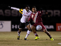 Chris Odoi-Atsem (28) of Maryland fights for the ball with Zeiko Lewis (19) of Boston College during the ACC tournament quarterfinals at Ludwig Field in College Park, MD.  Maryland defeated Boston College, 2-0.