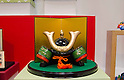February 8th, 2012 : Tokyo, Japan &ndash; Japanese traditional worrier mask is displayed for The 73rd Tokyo International Gift show 2012 at Tokyo Big Sight. There are over 3 million items including gift products and everyday goods. 2500 exhibitors showcase their unique products. This exhibition is held from February 8 to 10. (Photo by Yumeto Yamazaki/AFLO).