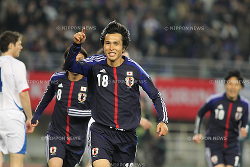 Ryoichi Maeda (JPN),.FEBRUARY 24, 2012 - Football / Soccer :.Ryoichi Maeda of Japan celebrates after scoring the opening goal during the Kirin Challenge Cup 2012 match between Japan 3-1 Iceland at Nagai Stadium in Osaka, Japan. (Photo by Kenzaburo Matsuoka/AFLO)