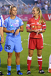 18 June 2003: Nancy Augustyniak (left) of the Atlanta Beat and Heather Mitts of the Philadelphia Charge. The WUSA All-Star Skills Competition was held at SAS Stadium in Cary, NC.
