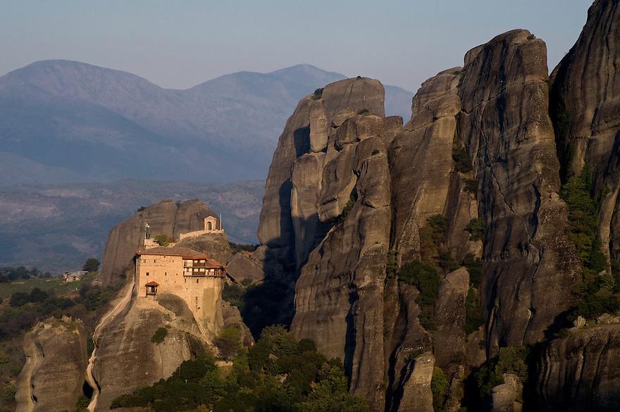 Greece, Meteora, Agios Nikolaos (St, Nicholas) Anapafsas Monastery in sunrise