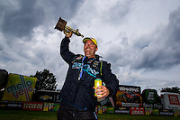 Sept. 1, 2014; Clermont, IN, USA; NHRA pro stock driver Shane Gray celebrates after winning the US Nationals at Lucas Oil Raceway. Mandatory Credit: Mark J. Rebilas-USA TODAY Sports