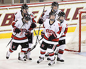 Lori Antflick (NU - 77), Kristi Kehoe (NU - 34), ?, ?, Siena Falino (NU - 18) - The Harvard University Crimson defeated the Northeastern University Huskies 4-3 (SO) in the opening round of the Beanpot on Tuesday, February 8, 2011, at Conte Forum in Chestnut Hill, Massachusetts.