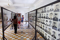 Phnom Penh, Cambodia. Tuol Sleng Genocide Museum at the former Security Prison 21 (S-21) of the Khmer Rouge. Photographs of Khmer Rouge torturers who committed atrocities here.