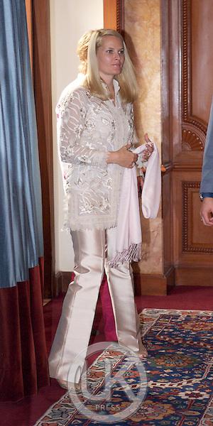 Crown Prince Haakon & Crown Princess Mette-Marit of Norway visit India. Seminar at the Taj Mahal Hotel in New Delhi.