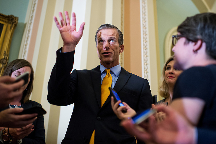 UNITED STATES - APRIL 19: Sen. John Thune, R-S.D., talks with reporters after the Senate Policy luncheons in the Capitol, April 19, 2016. (Photo By Tom Williams/CQ Roll Call)