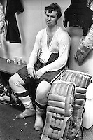 Seals goalie Gary Smith after one of his 71 games in the net in the 1970-71 season. (Photo/Ron Riesterer)
