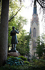 June 1, 2011; Statue of Rev. William Corby, C.S.C. in front of Corby Hall...Photo by Matt Cashore/University of Notre Dame