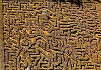The Amazing Maize Maze - corn maze at Rural Hill Farms in Huntersville, NC. Aerial photography - October 2010