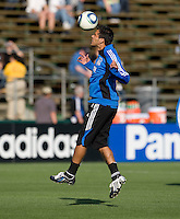 Ramon Sanchez of Earthquakes warms up during practice before the game against Real Salt Lake at Buck Shaw Stadium in Santa Clara, California on March 27th, 2010.   Real Salt Lake defeated San Jose Earthquakes, 3-0.