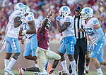 Florida State wide receiver Jesus Wilson reacts after a long reception and run in the second half of an NCAA college football game against North Carolina in Tallahassee, Fla., Saturday, Oct. 1, 2016. North Carolina defeated Florida State 37-35 on a field goal. (AP Photo/Mark Wallheiser)