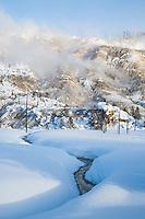 Roaring Mountain during winter in Yellowstone