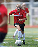 Aztec MA midfielder Tori McCombs (8) on the attack. In a Women's Premier Soccer League (WPSL) match, Aztec MA defeated CFC Passion, 4-0, at North Reading High School Stadium on July 1, 2012.