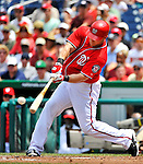 10 July 2011: Washington Nationals outfielder Laynce Nix in action against the Colorado Rockies at Nationals Park in Washington, District of Columbia. The Nationals shut out the visiting Rockies 2-0 salvaging the last game their 3-game series at home prior to the All-Star break. Mandatory Credit: Ed Wolfstein Photo