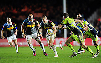 Mike Brown of Harlequins takes on the Sale Sharks defence. Aviva Premiership match, between Harlequins and Sale Sharks on January 7, 2017 at the Twickenham Stoop in London, England. Photo by: Patrick Khachfe / JMP