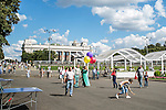 People stroll in Gorky Park on Saturday, August 17, 2013 in Moscow, Russia.