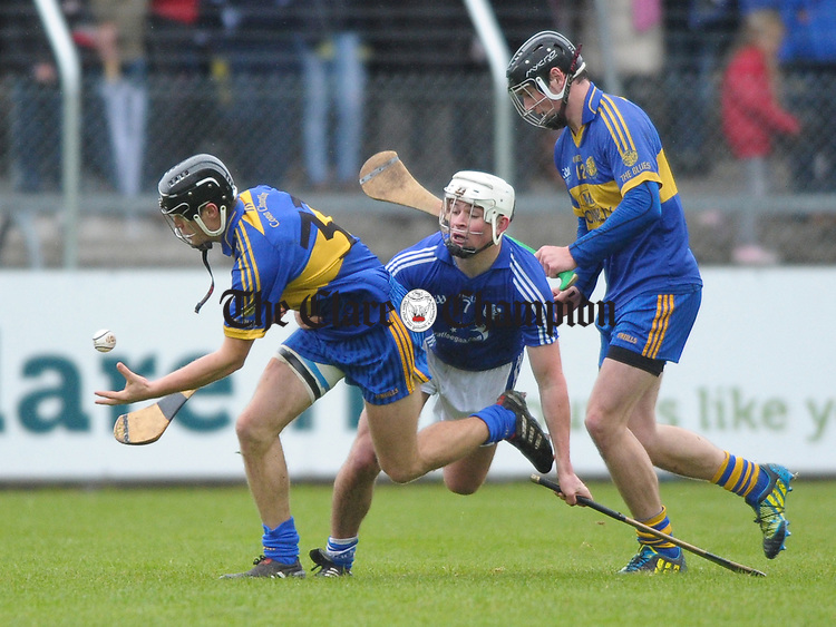 Shane O Brien of Newmarket On Fergus in action against Liam Markham of Cratloe during the senior county hurling final at Cusack Park. Photograph by John Kelly.