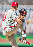 7 September 2014: Philadelphia Phillies starting pitcher Cole Hamels on the mound against the Washington Nationals at Nationals Park in Washington, DC. The Phillies fell to the Nationals 3-2 in their final meeting of the season. Mandatory Credit: Ed Wolfstein Photo *** RAW (NEF) Image File Available ***