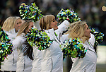 Seattle Seahawks cheer squad, the Seagals, perform during the Super Bowl Championship Game at CenturyLink Field on February 5, 2014 in Seattle, Washington. ©2014. Jim Bryant Photo. ALL RIGHTS RESERVED.